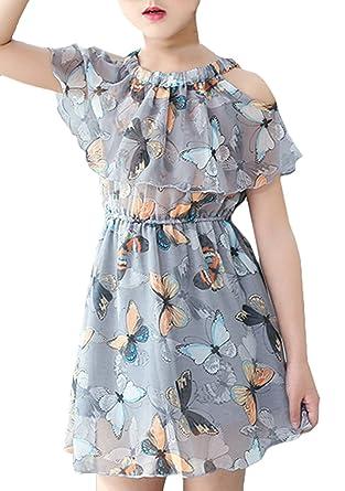 777bdc8031e68 Snoneおしゃれ キッズ ワンピース 夏服 シフォン 女の子ドレス 綺麗な 花柄 ドレス ガールズ ワンピース