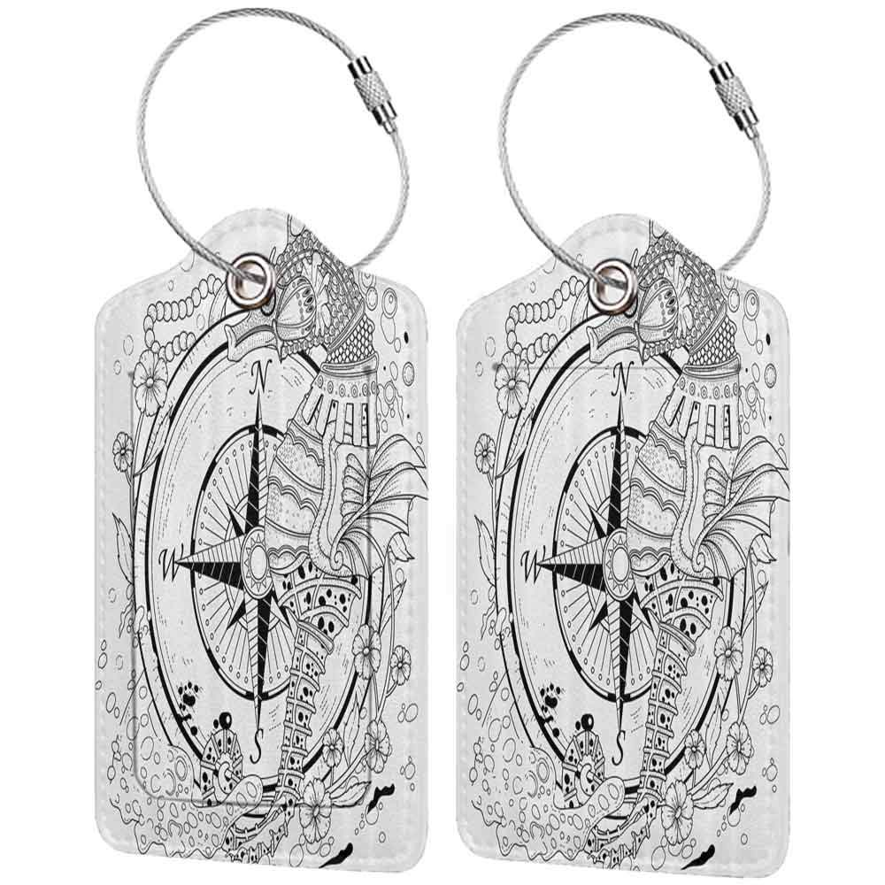 Waterproof luggage tag Compass Decor Giant Seashore All over Compass in Exquisite Ornate Detailed Motifs Ocean Animal Print Soft to the touch Black White W2.7 x L4.6