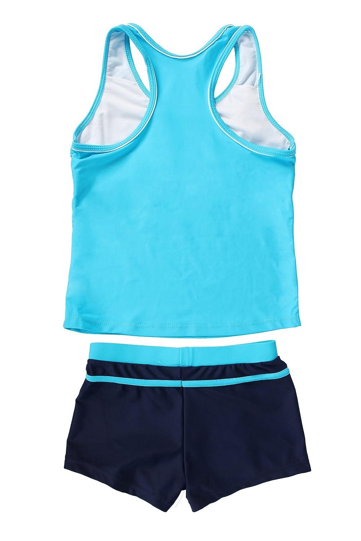 JerrisApparel Little Girls Summer Two Piece Boyshort Tankini Kids Swimsuit
