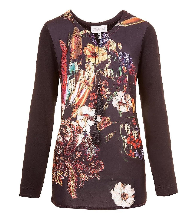 Chalou Langarm Shirt in Schwarz Satin Blumendruck Übergröße 50 52 54 56 58 60