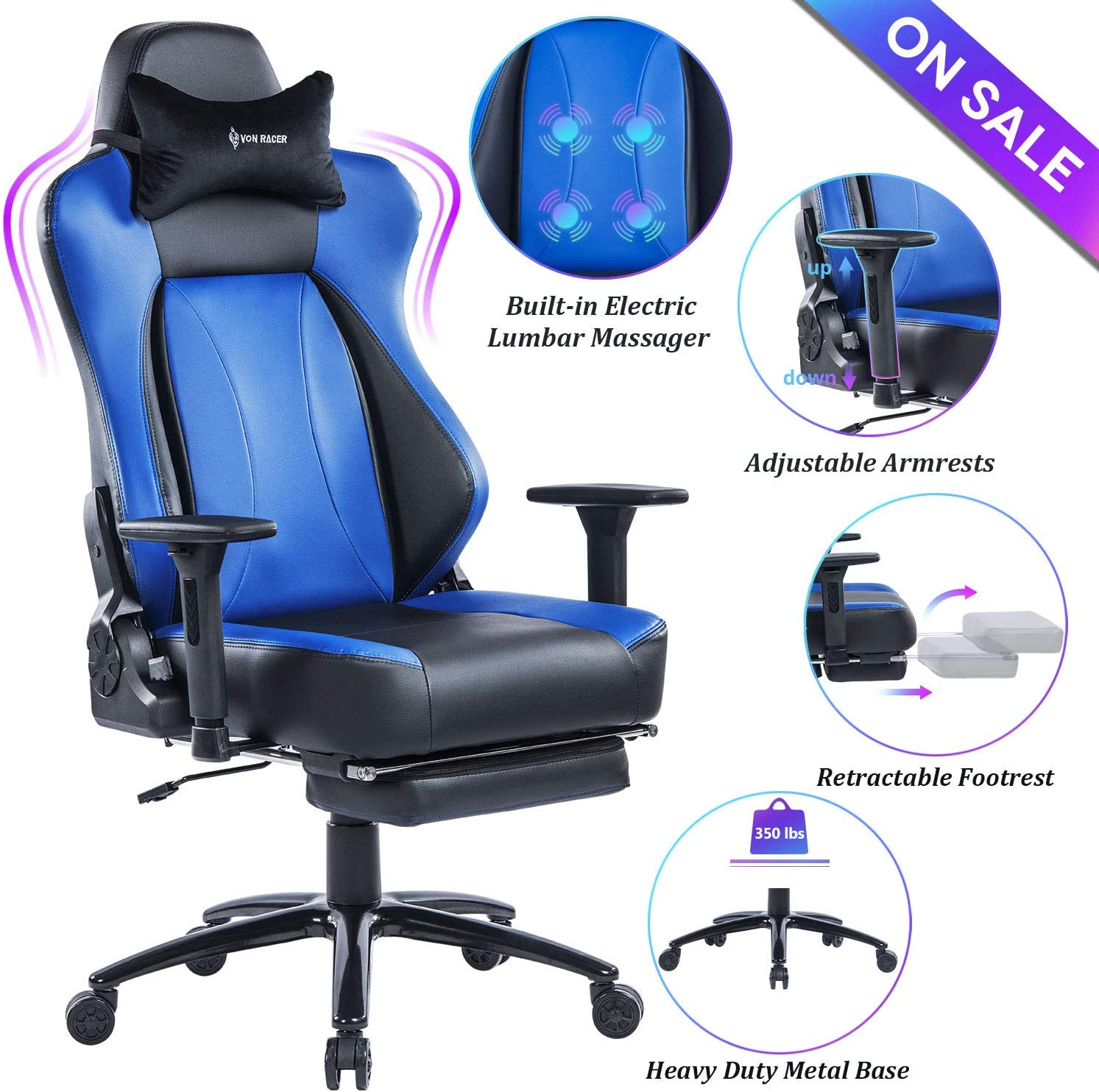 VON RACER Big & Tall Massage Reclining Gaming Chair Metal Base - Adjustable Back Angle and Retractable Footrest Ergonomic High-Back Leather Racing Executive Computer Desk Office Chair, Gray