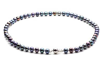 HinsonGayle AAA Handpicked Multicolor Black Round Freshwater Cultured Pearl Necklace