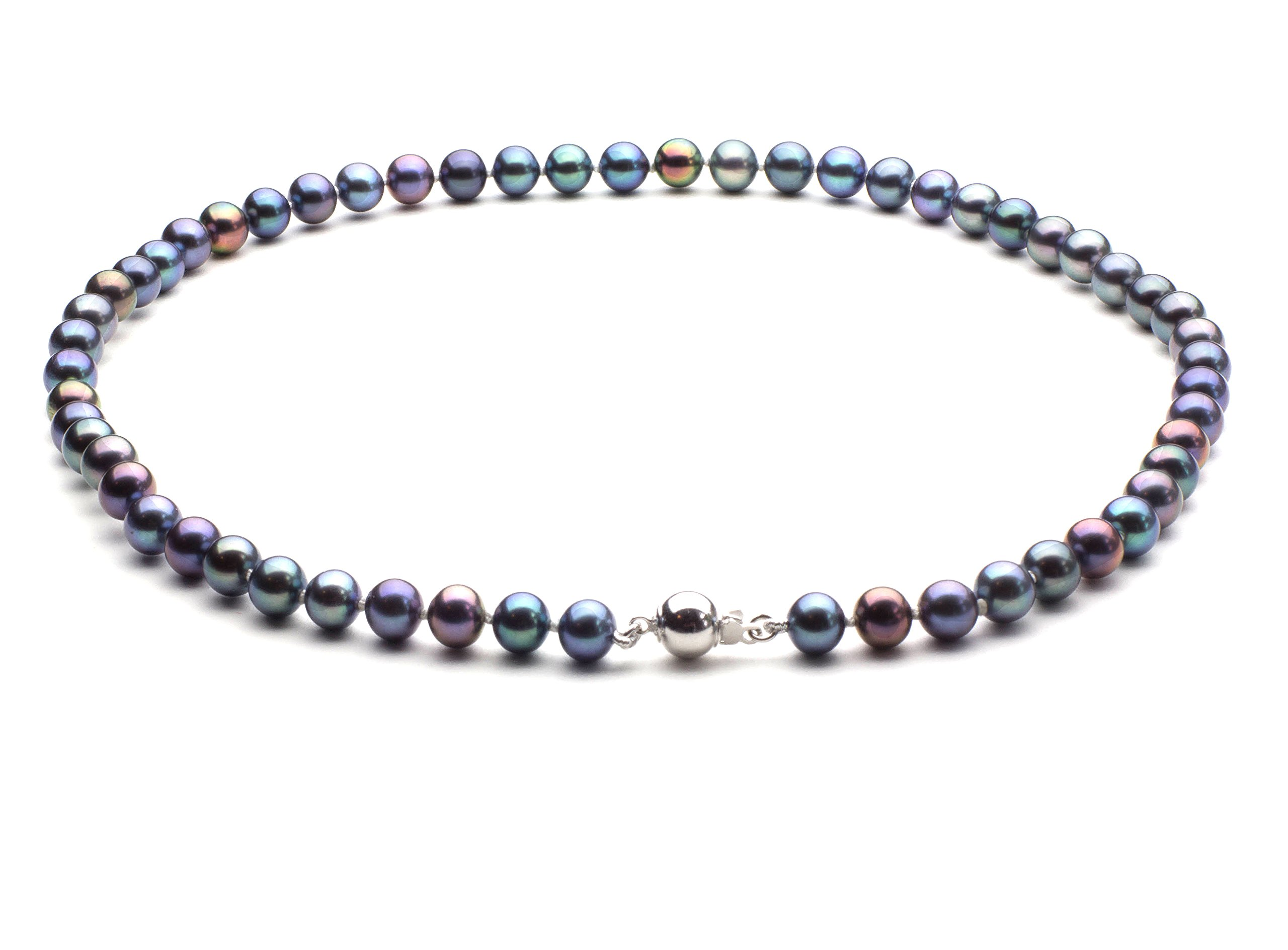 HinsonGayle AAA Handpicked 6.5-7mm Multicolor Black Round Freshwater Cultured Pearl Necklace 16 inch-16 in length