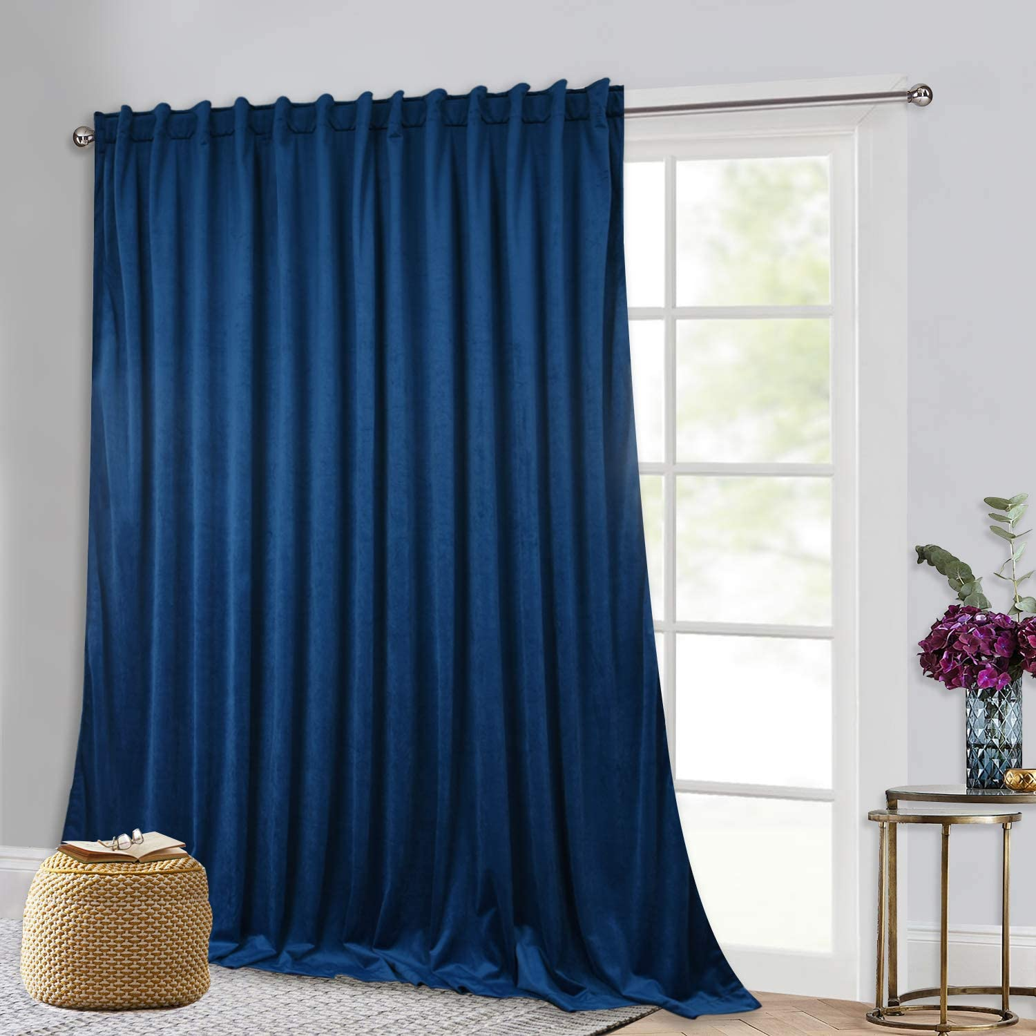 Double Wide Sliding Door Curtains - Thick Velvet Texture Country Curtains Blackout Insulated Panel Drapes for Son's Nursery/Office/Exhibition Center, Wide 100 x Long 108-inch, Blue, 1 Panel