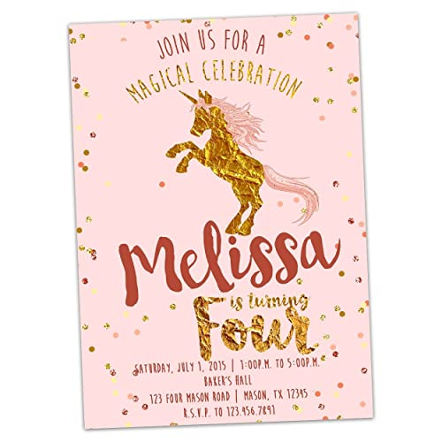 Unicorn 1st Birthday Invitation Pink And Gold Glitter Magical First ONE