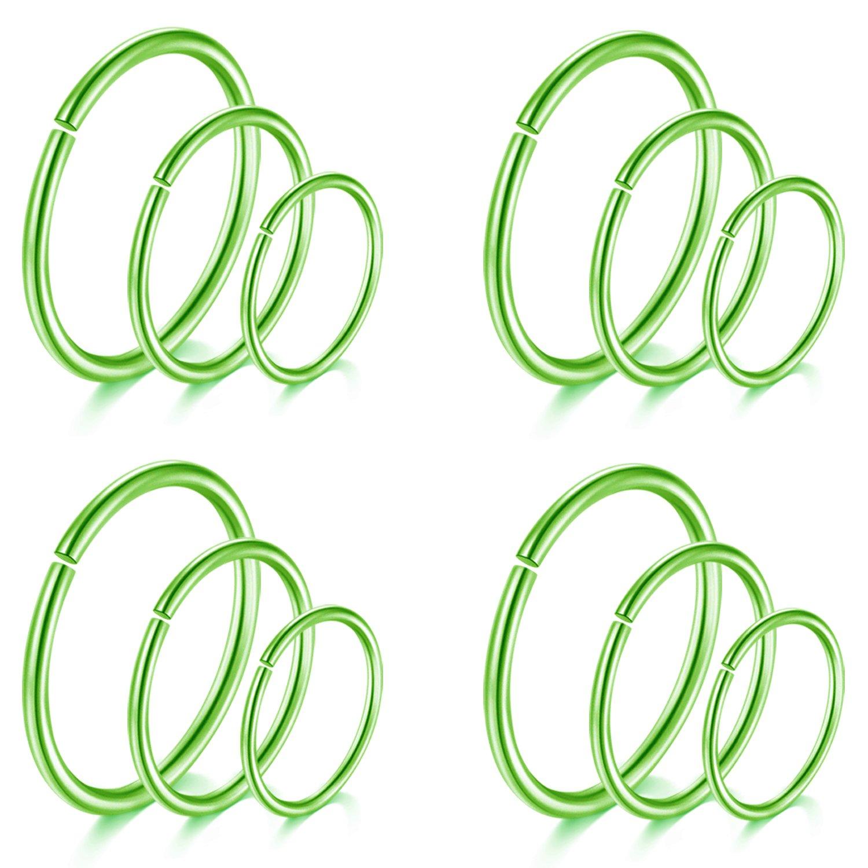 D.Bella Nose Hoop Ring, 18G 8mm 10mm 12mm Nose Septum Ear Tragus Cartilage Ring Piercing Jewelry D.Bella Nose Hoop 10mm B07BTM6NWL_US