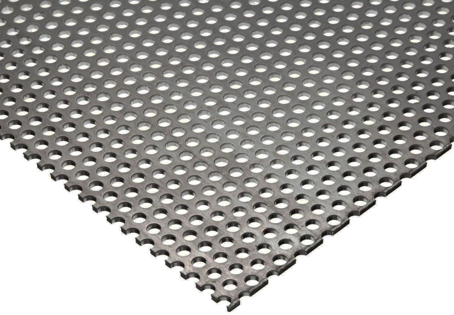 Online Metal Supply 304 Stainless Steel Perforated Sheet, Thickness: 0.035 (20 ga.), Width: 24', Length: 48', Hole Size: 0.125 (1/8), Staggered 0.188 (3/16) Width: 24 Length: 48