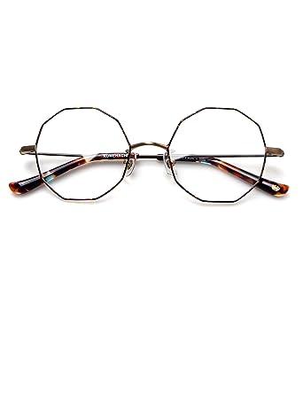 861e507c0b Komehachi - Women Unique Ten-Sided Light Metal Contrast Color  Prescription-Ready Eyeglasses Frames