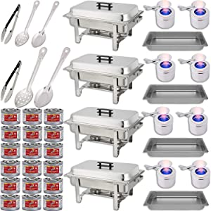 """Chafing Dish Buffet Set w/Fuel — Water Pans + Food Pans 8 qt + Frames + Lids + Fuel Holders + 18 Fuel Cans + Serving Utensils, 15"""", 11"""" Perforated Spoon + 15"""", 11"""" Solid Spoon + 9"""" Tong — 4 Warmer Kit"""
