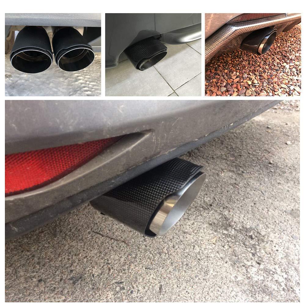 Tubo de escape de la extremidad del silenciador del tubo de escape del coche de la fibra de carbono Tailpipe para el SUV auto 63m m 89m m mate