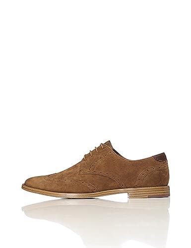 FIND Derby Schuhe Herren mit Brogue-Design, rauem Kunstleder und Lochverzierungen, Grau (Grey), 41 EU