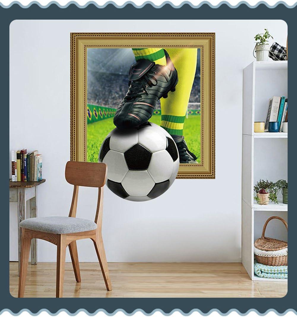 Adhesivo de pared 3D extraíble, diseño de balón de fútbol de la ...