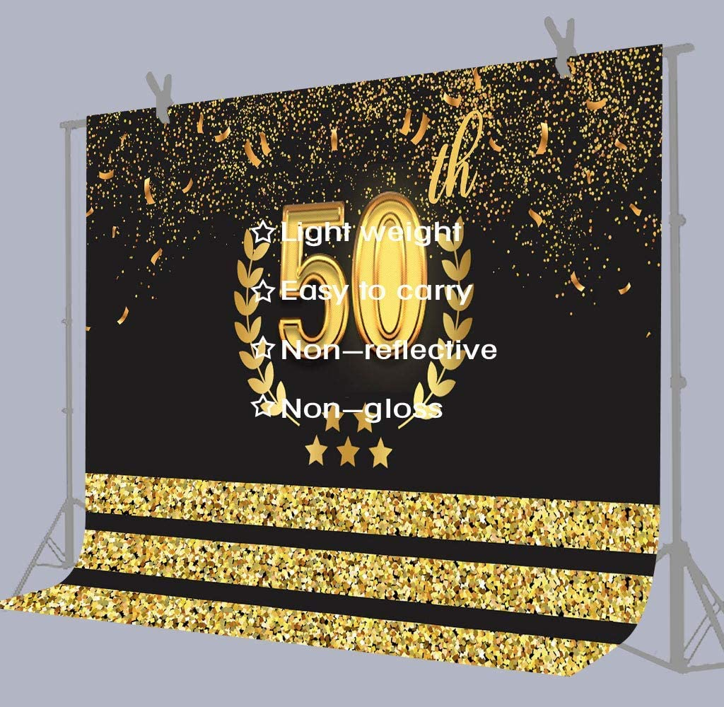 10x8ft Fifty Years Birthday,Golden Marriage Backdrop Photography Studio Photo Props Background LYFU266