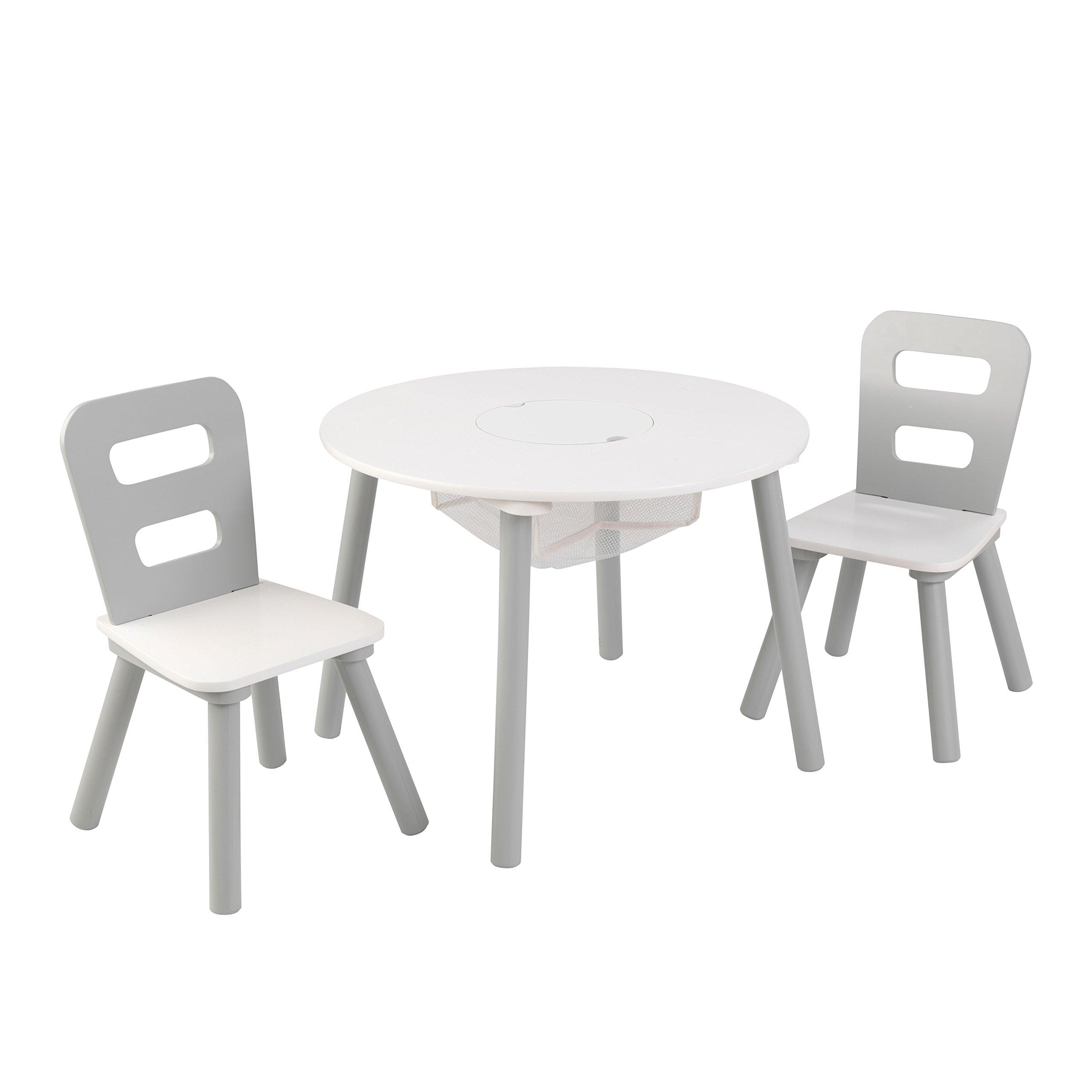 KidKraft Round Table & Chair Set Wht & Gray Others, White, Gray
