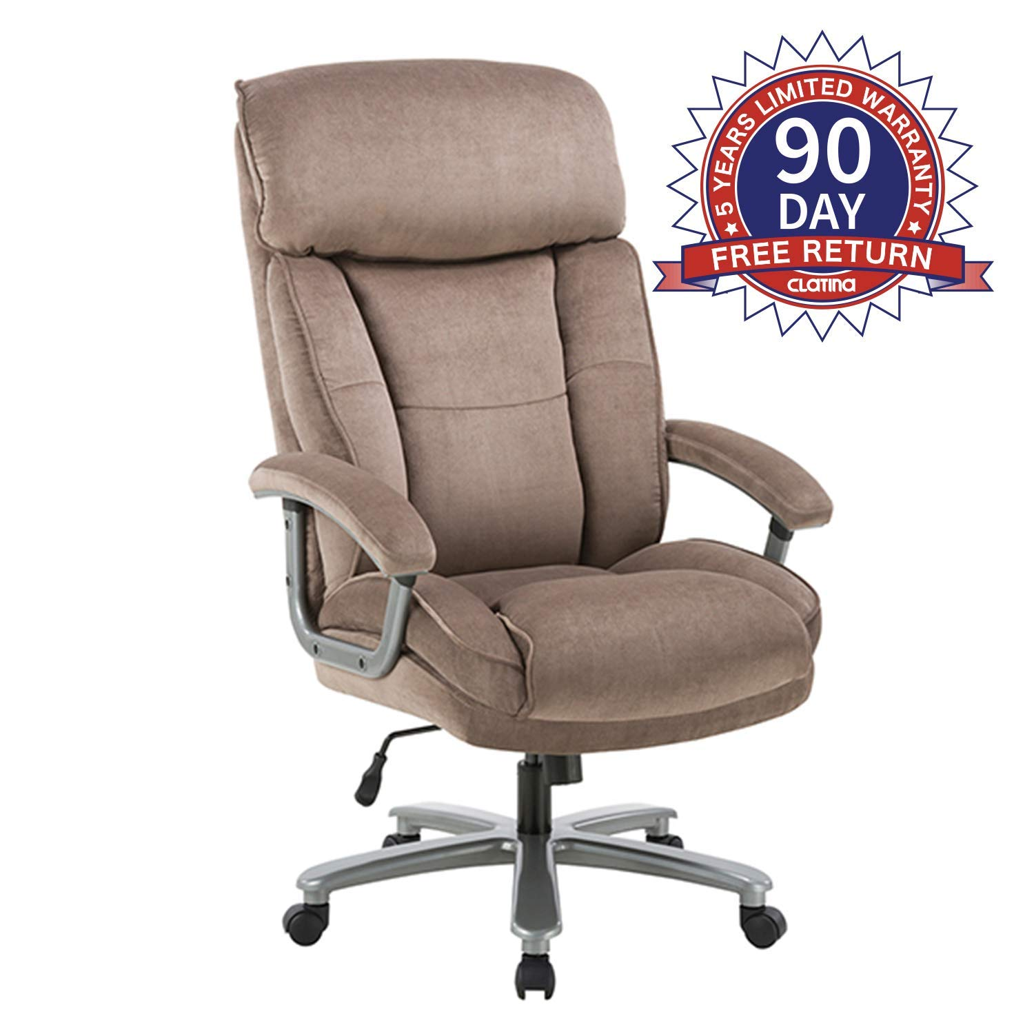 Ergonomic Big & Tall Executive Office Chair with Upholstered Swivel 400lbs High Capacity Adjustable Height Thick Padding Headrest and Armrest for Home Office Beige by CLATINA