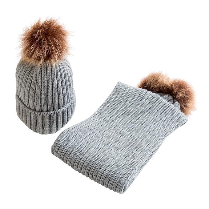 Prettyia Bambini Neonati Cappello Cappellini Berretti Hat con Sciarpa da  Caldo Inverno - Grigio 8abd80e5f15e