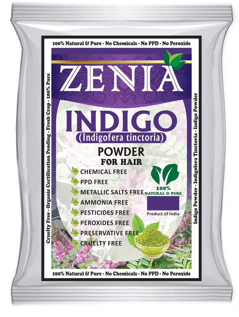 Zenia Indigo Powder (Indigofera Tinctoria) Hair / Beard Dye Color 500 grams by Herbal Beauty Supply