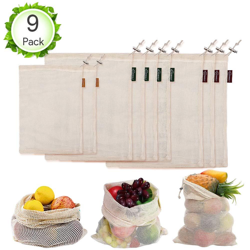 Set di 9 Sacchetti in Rete per Frutta e Verdura Busta di Produzione in Cotone Lavabile e Traspirante BPA Oladwolf Borse per la Spesa riutilizzabili ecologiche 2 * S, 4 * M, 3 * L