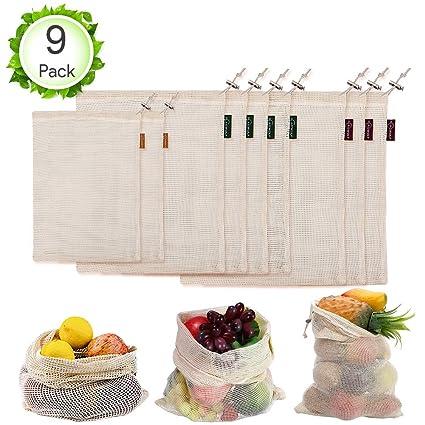 Oladwolf Bolsas Reutilizables Compra Fruta, Juego de 9 Bolsa de Malla para Fruta y Verduras Ecológicas, Bolsa Algodon de Producción 100% Algodón ...