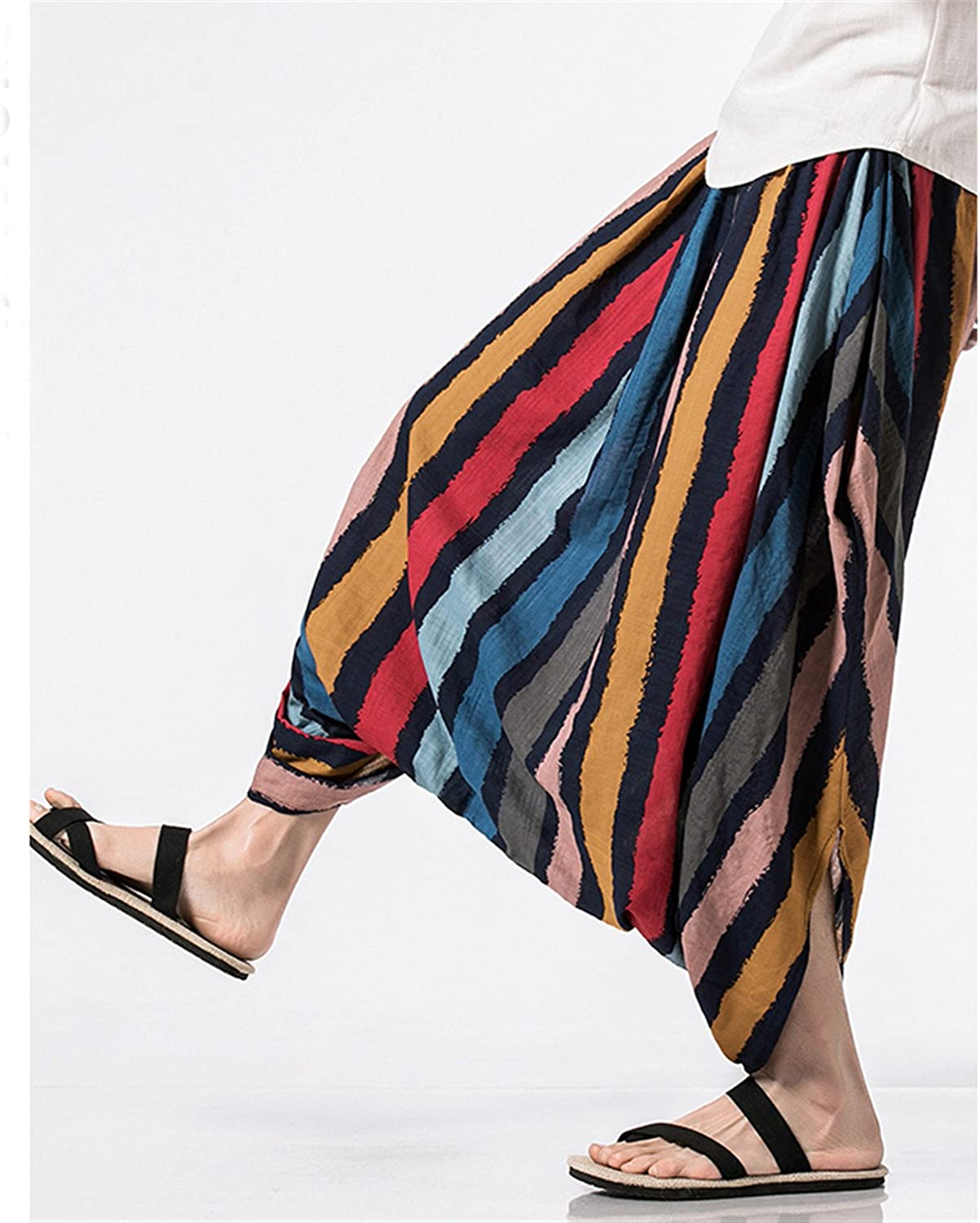 Welcometoo Cotton Linen Harem Pants Mens Summer Male Casual Jogger Pants New Pattern Stripe Print Baggy Loose Pant Trousers