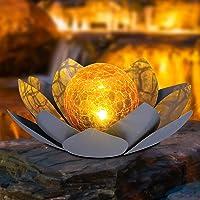 Deals on Huaxu Amber Crackle Glass Globe Lotus Solar Light