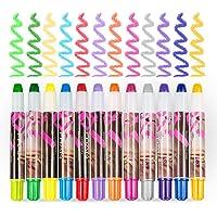BATTOP 12-Piece Set-Metallic Glitter Hair Chalk Comb