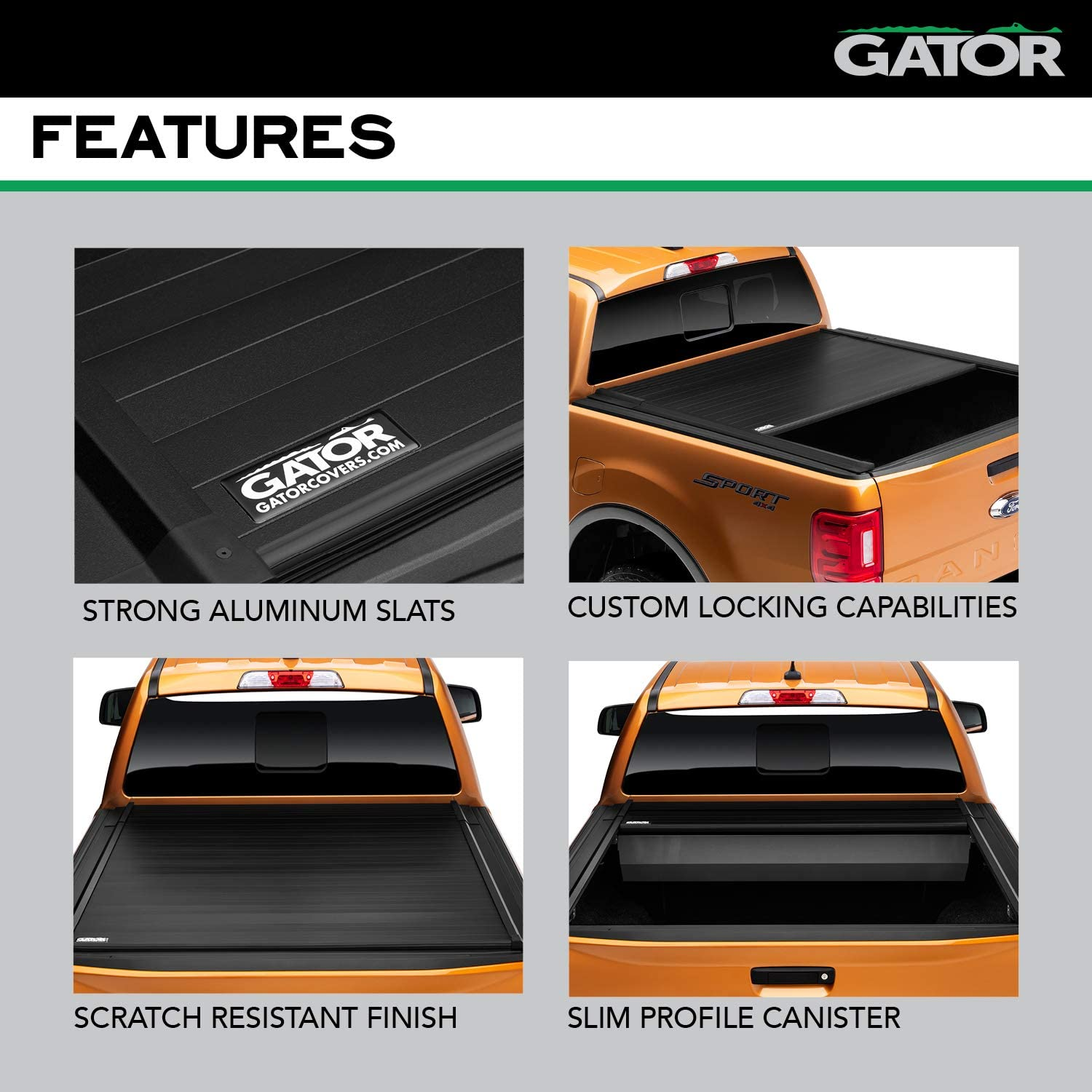 Amazon Com Gator Recoil Retractable Truck Bed Tonneau Cover Fits 2015 2018 Ford F150 6 5 Bed 77 Automotive