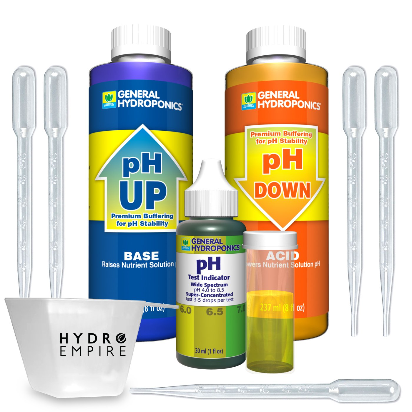 General Hydroponics pH Control Kit Adjust for 8oz pH up and Down GH Includes 5 Pipettes and Bonus Hydro Empire 4oz Measuring Cup Bundle. The Best GH pH Test kit for hydroponic Gardens on The Market!