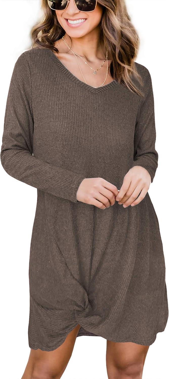 iGENJUN Women's Long Sleeve V Neck Side Knot Sweater Tunic Dress