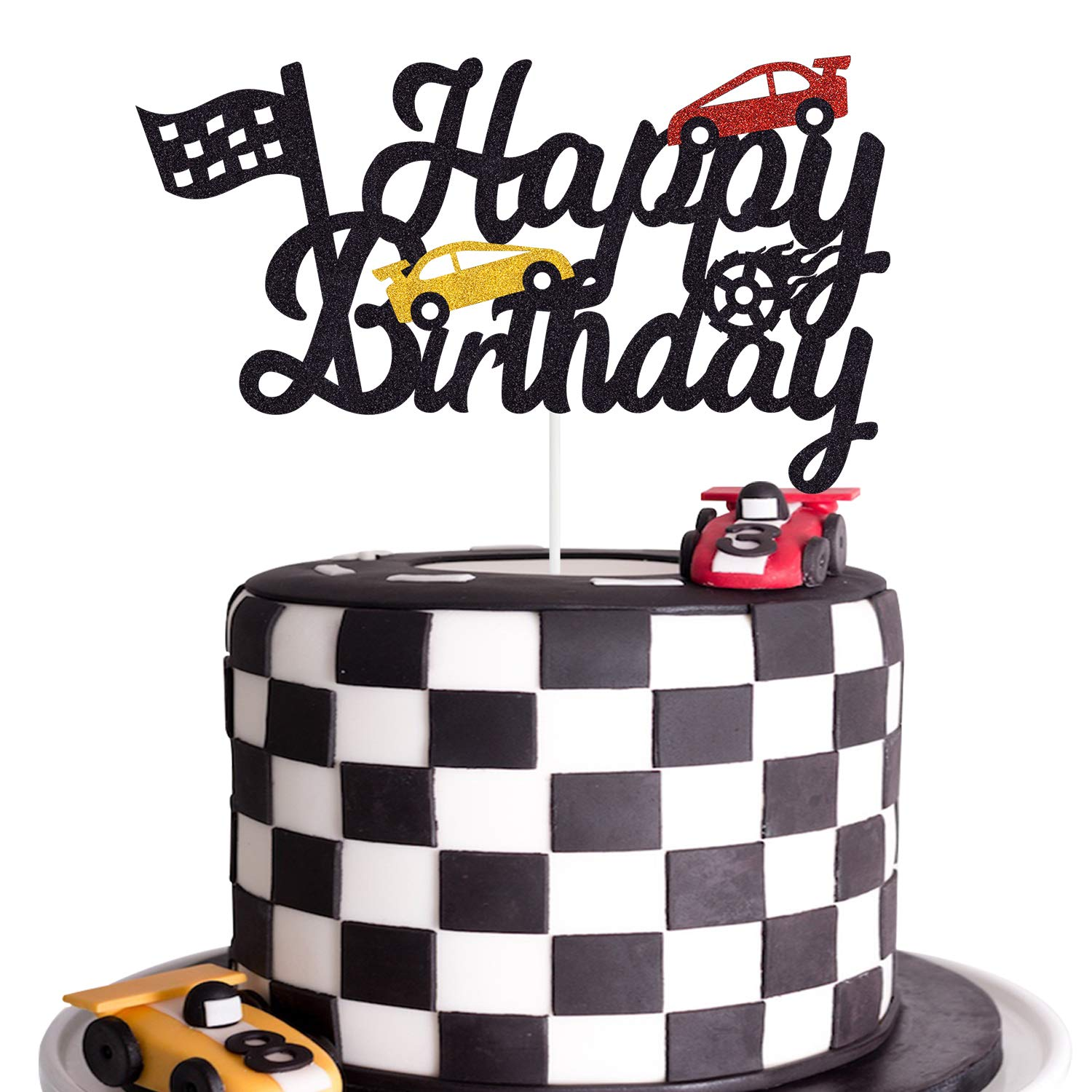 Surprising Race Car Birthday Cake Topper Happy Birthday Cake Decor Chequered Funny Birthday Cards Online Elaedamsfinfo
