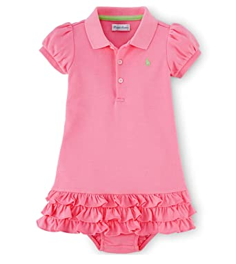Ralph Lauren Baby Girls\u0027 Ruffled Polo Dress \u0026 Bloomer (9 Months , Garden  Rose