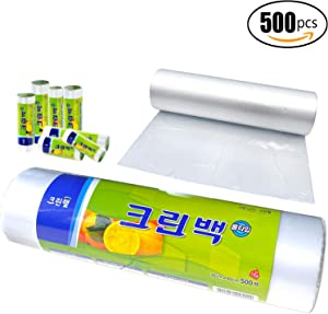 Cleanwrap 12 X 16 Plastic Clear Produce Bag on a Roll, 500 Bags/Roll - Environmental Hormones BPA Free Safety Storage Bags for Food, Grocery, Fruits, Vegetable, Bread, Fish, Wet Stuff and to go
