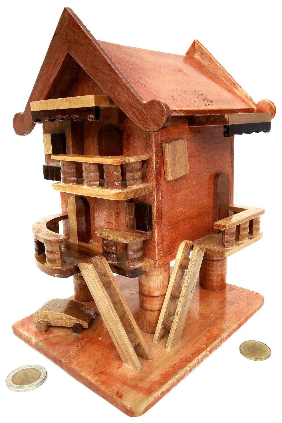 貯金箱。デザイン「モデルホームタイ」ハンドメイド、Hardwood、工芸、美しい、繊細、と装飾( 9インチ)   B01IEW59L0