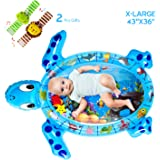 QPAU Tummy Time Mat with Wrist Rattles Set, 43X36 Inch X-Large Inflatable Water Play Mat, Turtle Shape Newborn Baby Mat for 3 6 9 12 Months