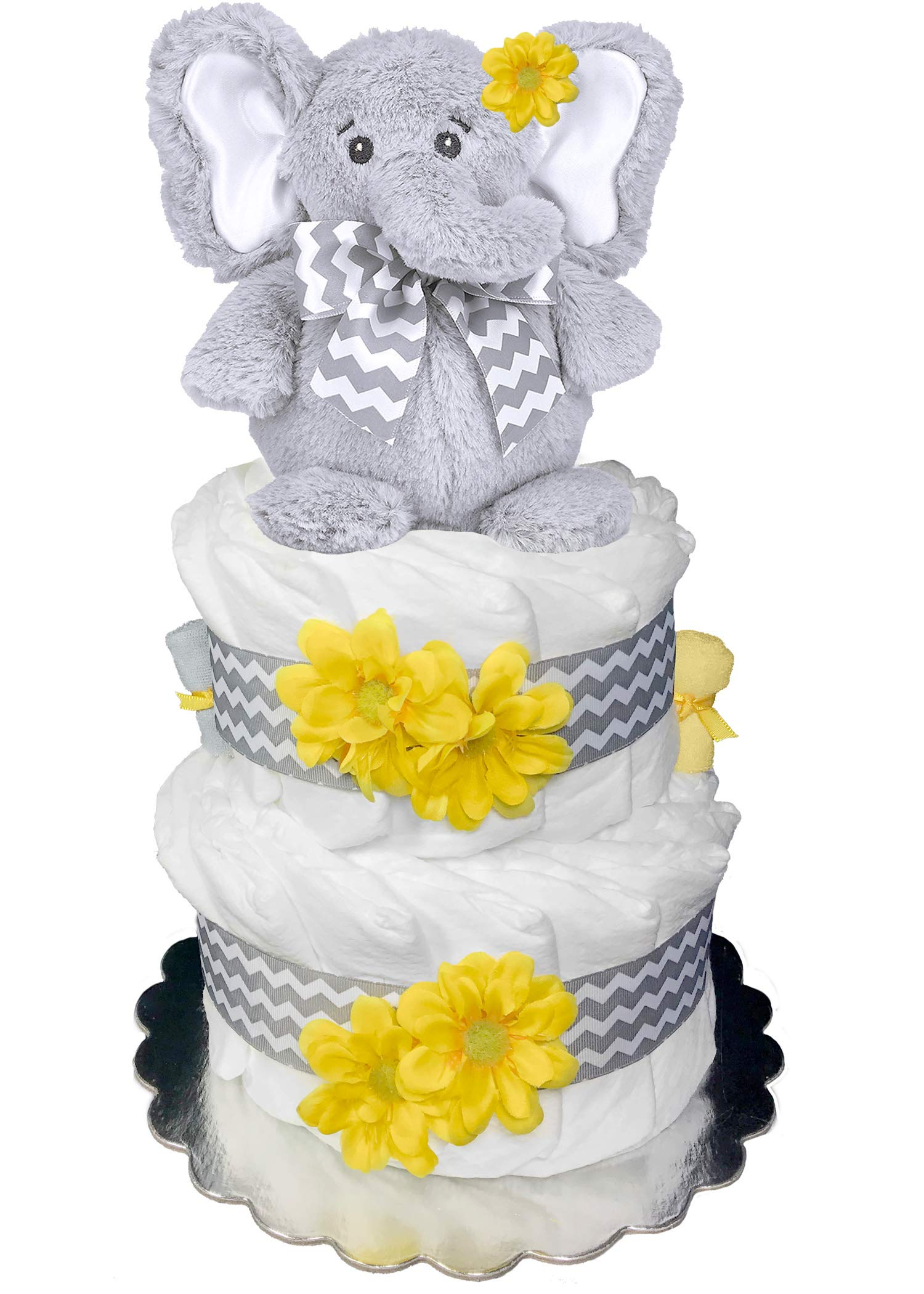 Elephant Diaper Cake - Baby Shower Gift - Centerpiece - Yellow and Gray
