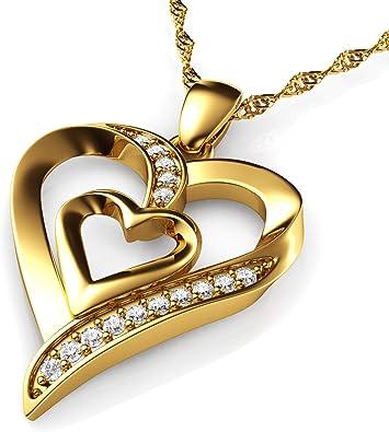 Love Heart 18ct Yellow Gold Zirconia Necklace//Pendant Wedding-Gift-Jewellery