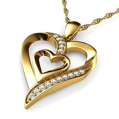 DEPHINI Gold Halskette - Gelb Hallmarked 18 Karat Gold - Double Love Herz  Anhänger mit CZ 66229ef421