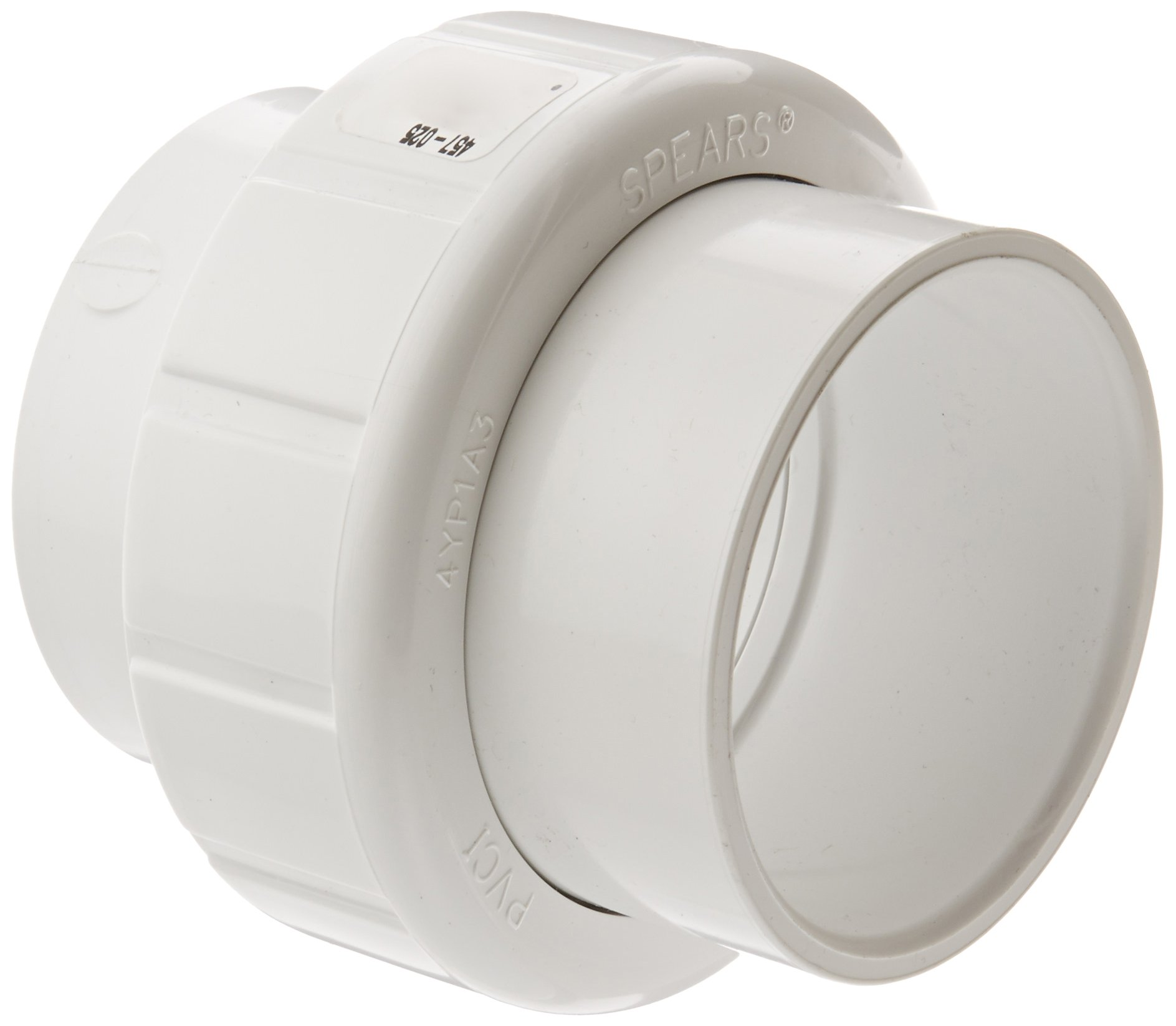 Spears 457 Series PVC Pipe Fitting, Union with Buna O-Ring, Schedule 40, 2-1/2'' Socket
