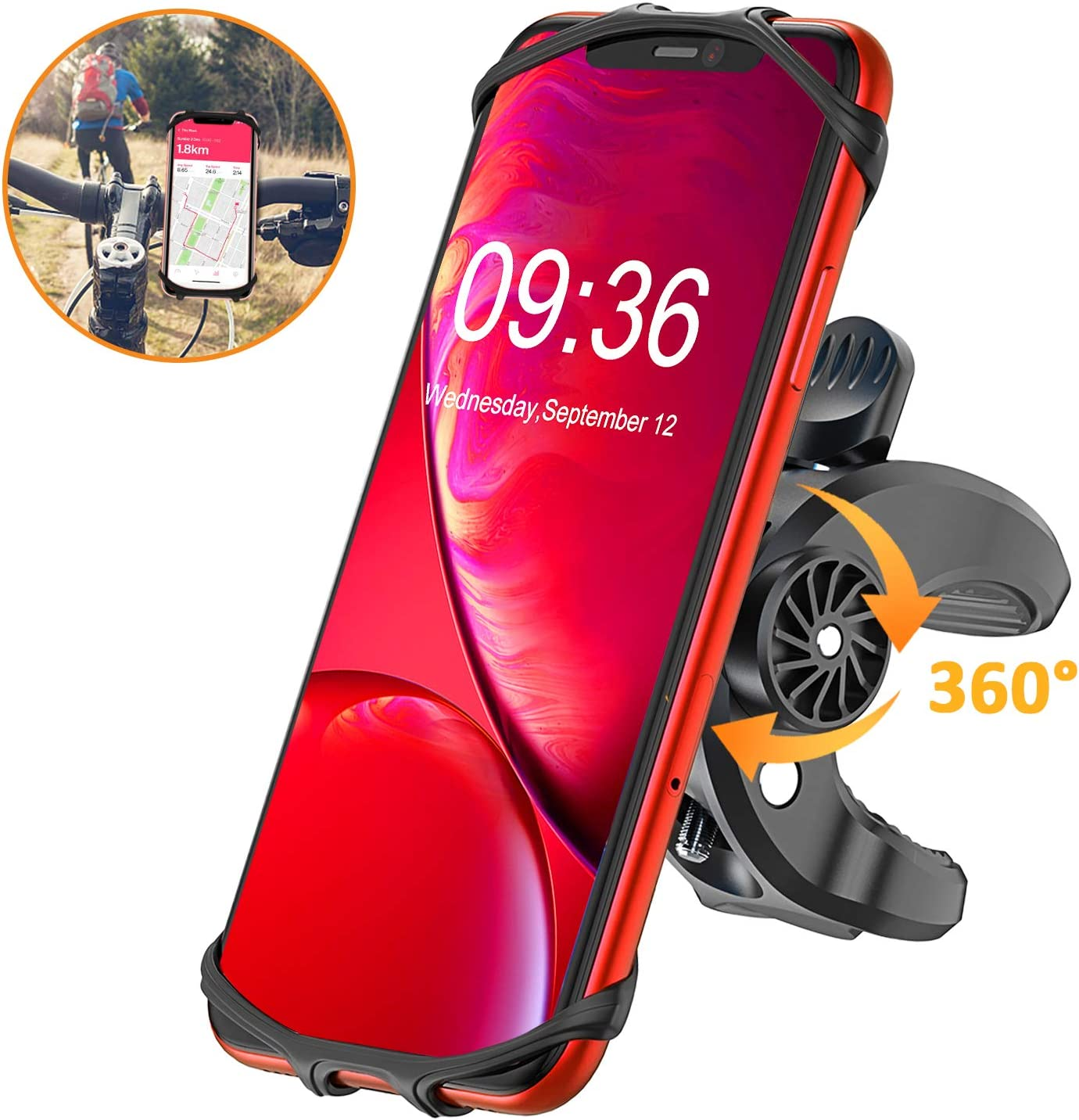 Bike Phone Mount, STOON 360° Rotatable Bicycle Phone Holder with Adjustable Handlebar Mount, Silicone Universal Motorcycle Phone Mount Fit for iPhone 11/XR/XS Max/X, 8/8 Plus, Galaxy S10 Plus/S10/S10e