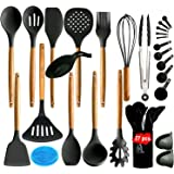 27 pcs Silicone Kitchen Utensil Set-Kitchen Utensils with Wooden Handle and Holder. Save your pots by upgrading your…