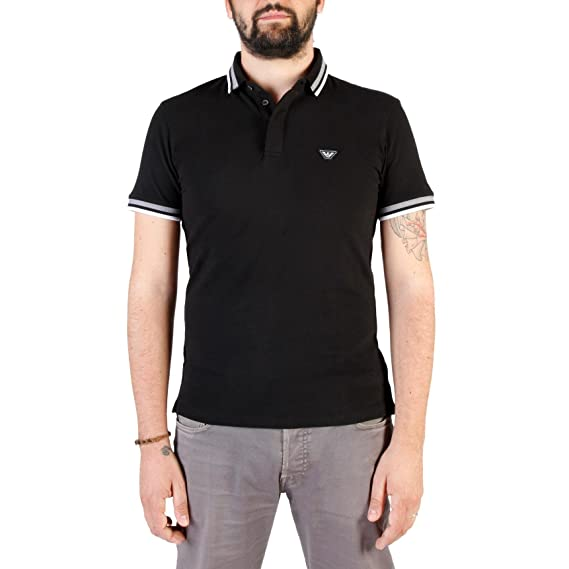 110a0b32034b Emporio Armani Embroidered Pique-Cotton Stretch Polo Black  Armani ...