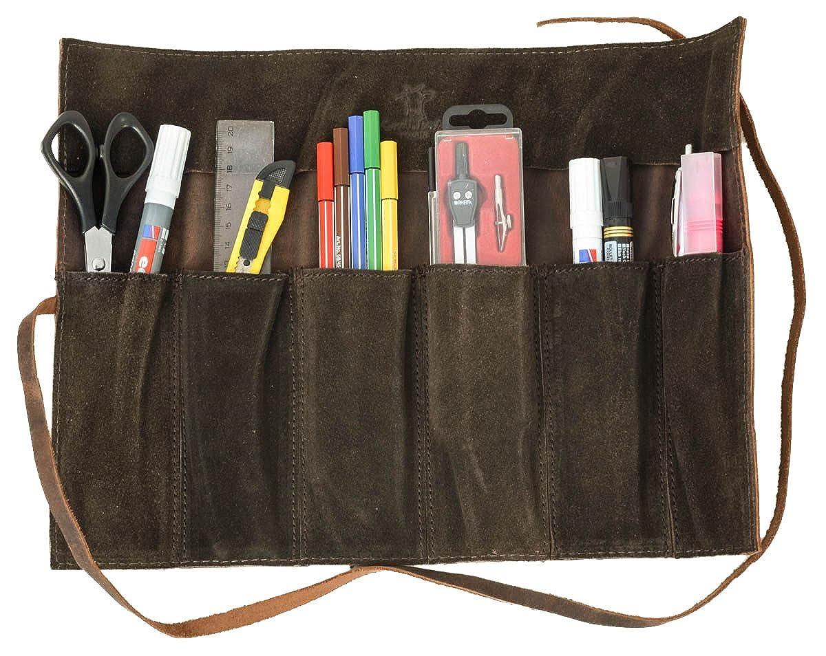 Gusti Leder studioRokko Genuine Leather Tool Stationery Paintbrush Holder Make-Up Sewing Utensil Wrap Vintage Buffalo Hide Antique Brown 2A97-26-3