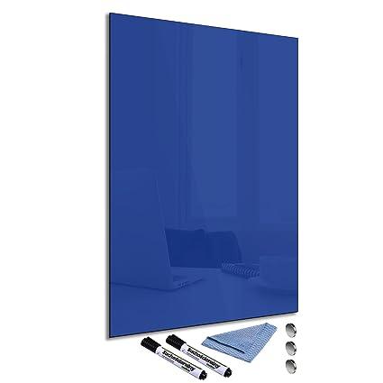FTB Pizarra magnética de cristal azul 40 x 60 cm Whiteboard ...