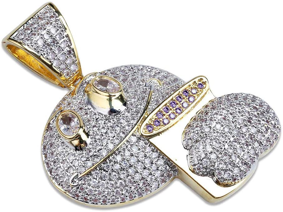MKHDD Personality Unisex Gold Plated Chain Hip Hop Chain Zircon Rhinestone Emoji Pendant Necklace for Men Women Rap Punk Jewelry
