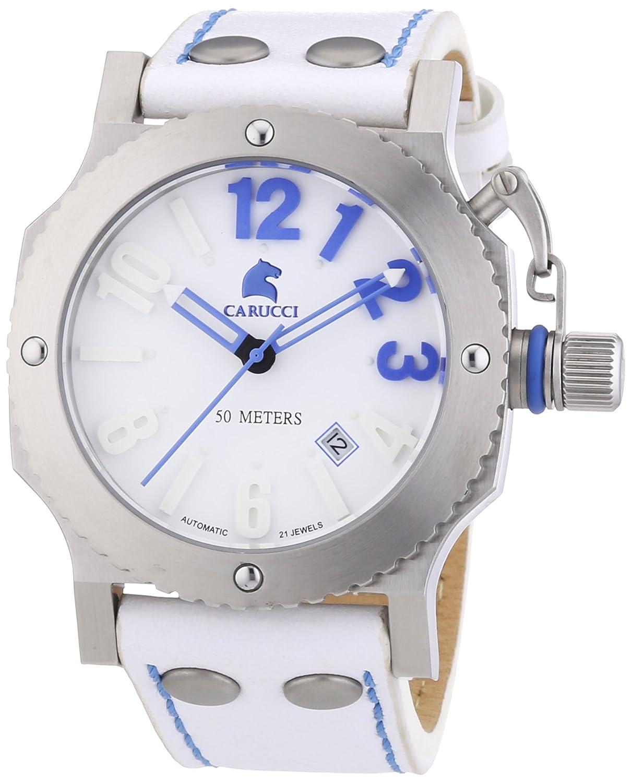 Carucci Watches Herren-Armbanduhr XL Analog Automatik Leder CA2210SL-BL