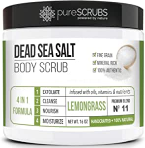 pureSCRUBS Premium Organic Body Scrub Set - Large 16oz LEMONGRASS BODY SCRUB - Dead Sea Salt Infused Organic Essential Oils & Nutrients INCLUDES Wooden Spoon, Loofah & Organic Exfoliating Bar Soap