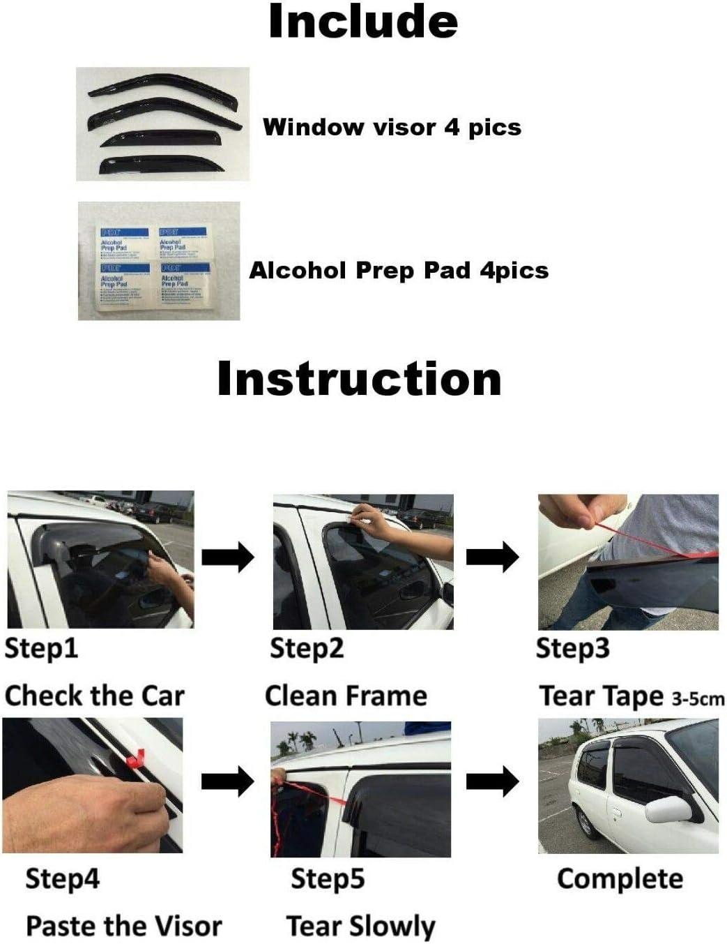IAC Chrome Trim Window Visor Weather Shield Rain Guard Deflector Vent Door Visor for Mazda CX-9 2016-2020