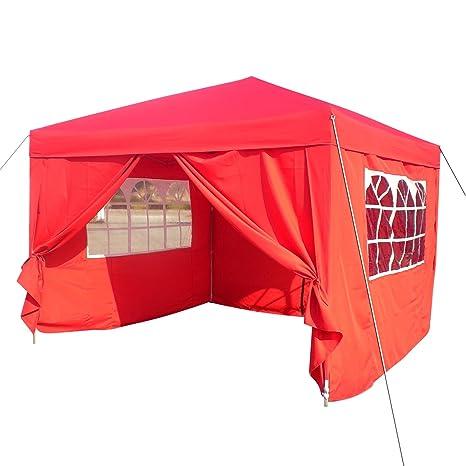 Homdox Tienda Pabellón Carpa 3M*3M con Paredes Laterales y Ventanas Plegables para Fiestas,