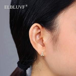 Rose Gold GF Initial Letter K Stud Earrings