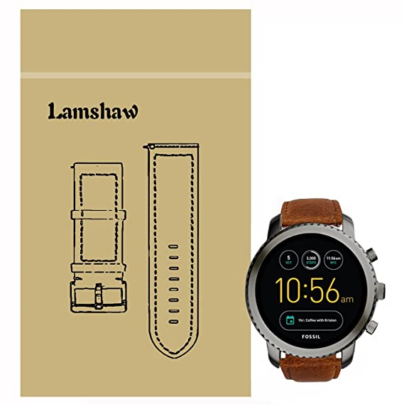 Lamshaw Leather Strap Replacement Band for Fossil Q Explorist Smartwatch Strap (Brown)